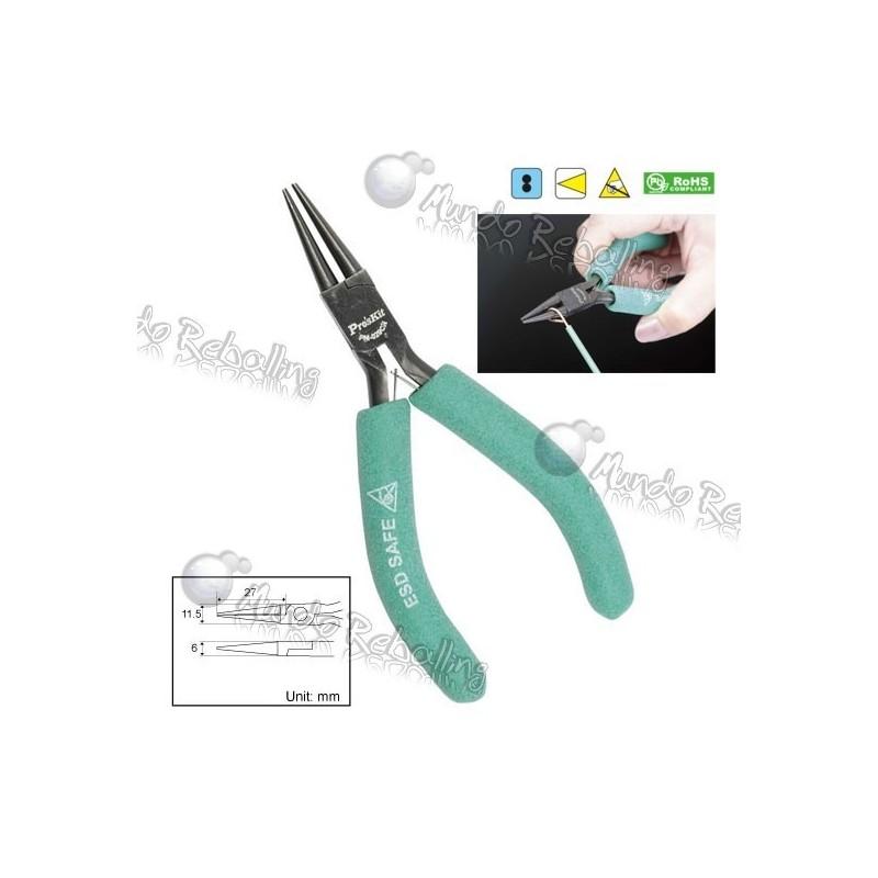 Alicate punta redonda tipo pinza de precisión / 13cm / Pro's Kit PM-029CN